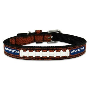 Denver Broncos Classic Leather Toy Football Collar
