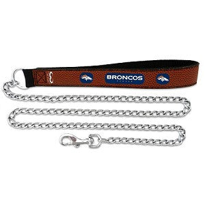 Denver Broncos Football Leather 3.5mm Chain Leash