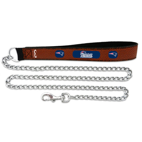 New England Patriots Football Leather 3.5mm Chain Leash