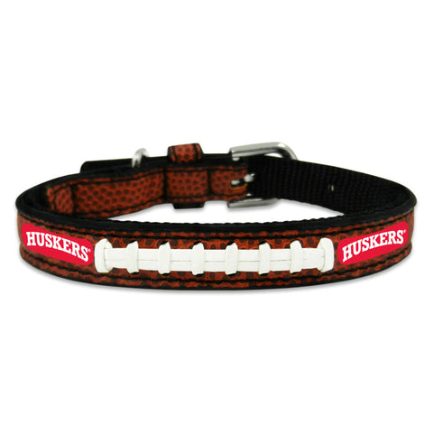 Nebraska Corn Huskers Classic Leather Toy Football Collar