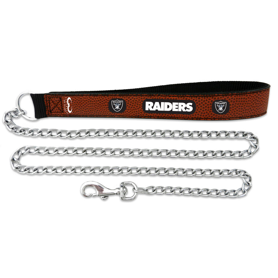 Oakland Raiders  Football Leather 2.5mm Chain Leash