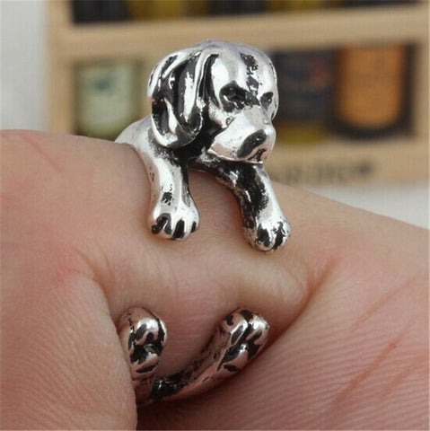 Beagle Lovers Cute Adjustable Antique Silver Ring For Men or Women