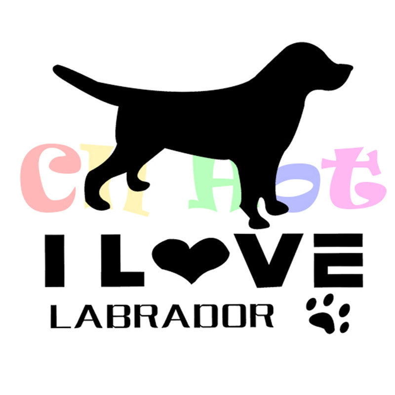 "Labrador Lovers ""I Love Labradors""  Reflective Car Sticker By Starprint"
