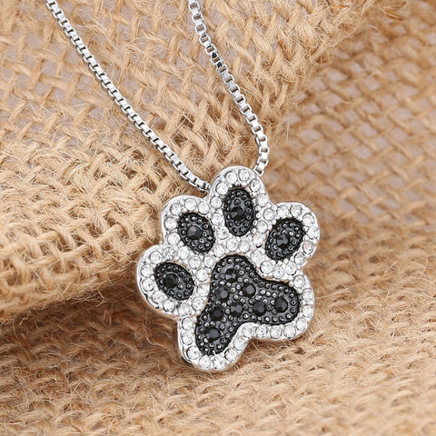 Charming Silver Plated Black & White Crystal Rhinestone Dog Paw Necklace & Pendant
