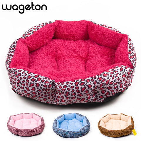 Colorful Leopard Print Pet Bed  (Pink, Blue, Yellow, Deep Pink, SIZE M,L)