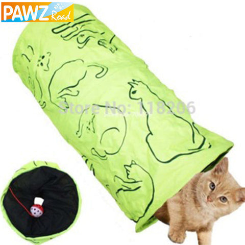 Lovely  Green Cat Tunnel Toy With Ball