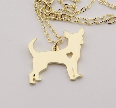 Chihuahua Lovers Gold Necklace Pendant