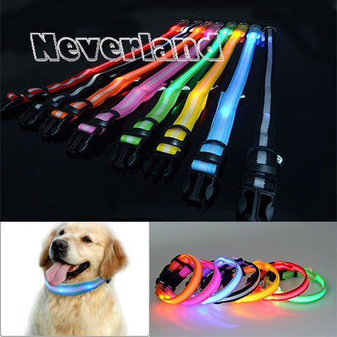 Glowing LED Flashing Light Up Nylon Cat Collar (Choose from 8 different colors)
