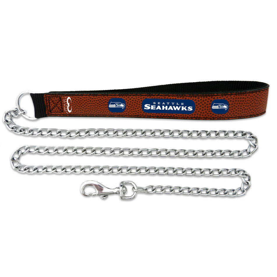 Seattle Seahawks   Football Leather 2.5mm Chain Leash