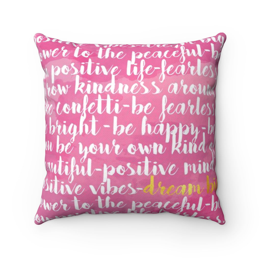 Dream Big Pink White With Gray Stripes Gold Throw Pillow
