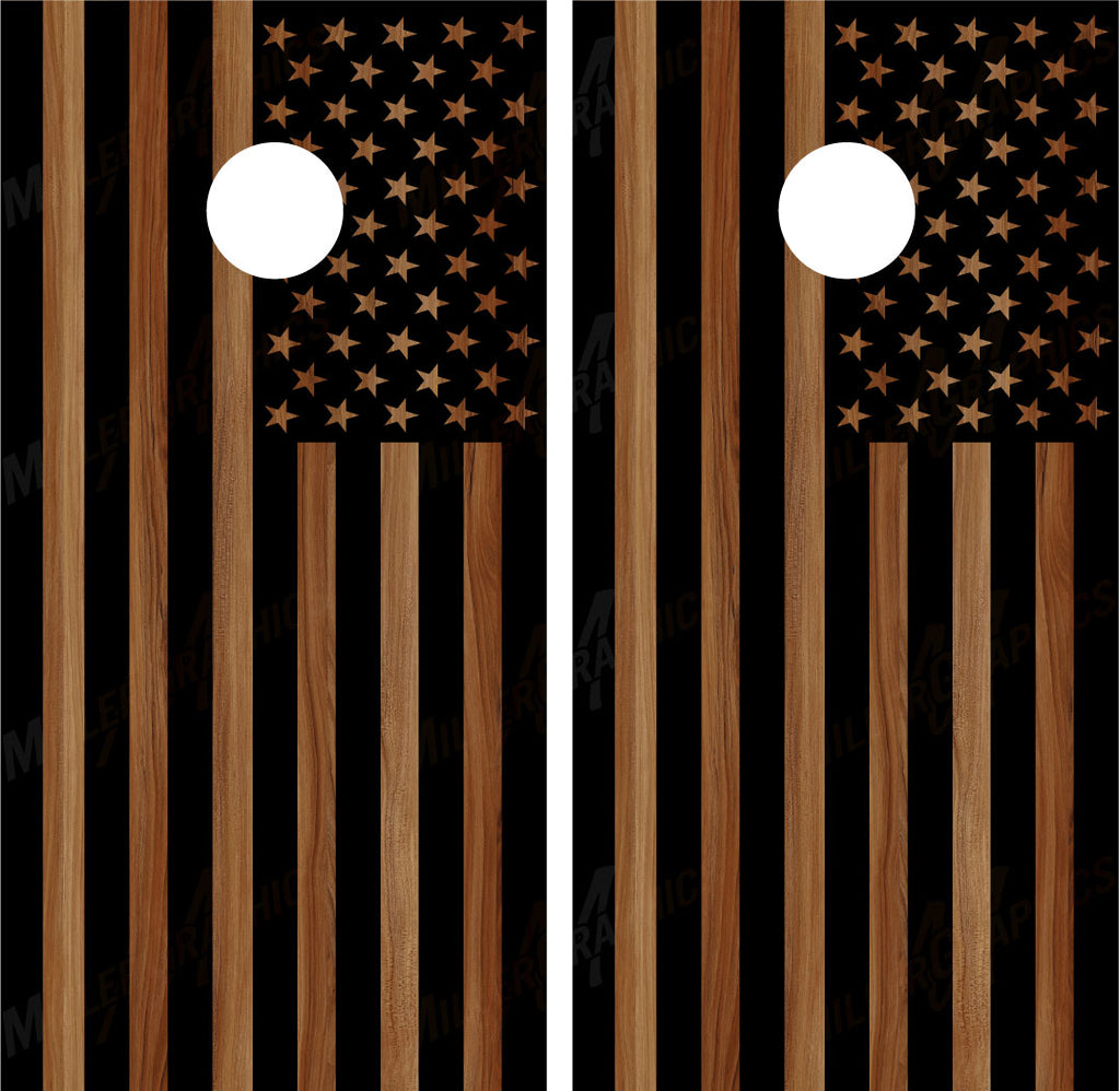 American Flag (Black) Brown Woodgrain