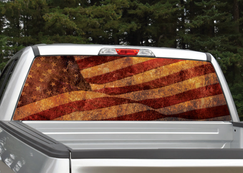 American Flag Distressed Rear Window Decal