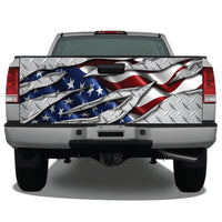 American Flag Ripped Metal Diamond Plate Tailgate Wrap