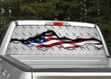 American Flag Ripped Metal #2 Diamond Plate Rear Window Decal