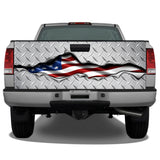 American Flag Ripped Metal #2 Diamond Plate Tailgate Wrap