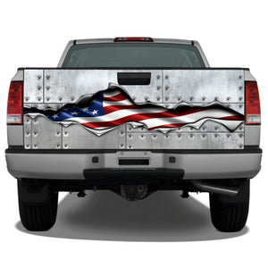 American Flag Ripped Metal #2 Riveted Metal Tailgate Wrap