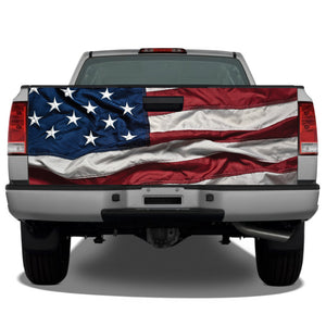 American Flag Waving #2 Tailgate Wrap