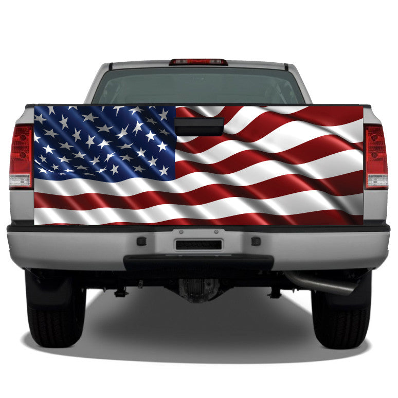 American Flag Waving #3 Tailgate Wrap