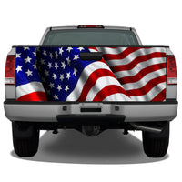 American Flag Waving #4 Tailgate Wrap