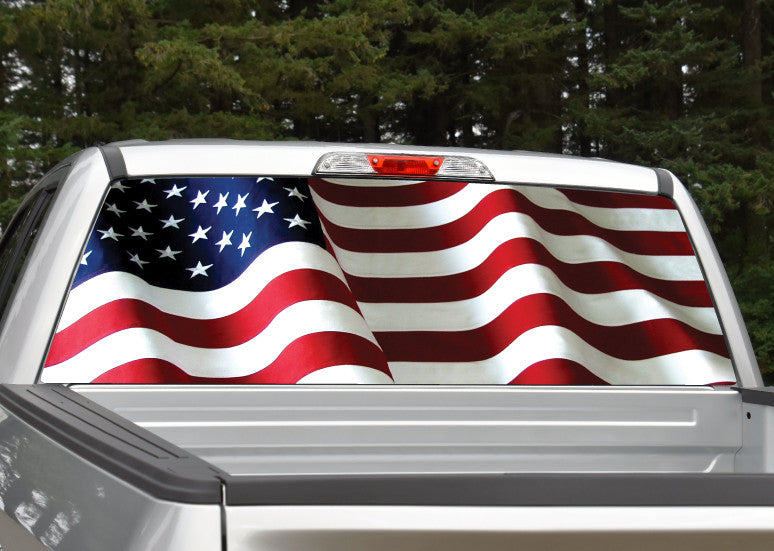 American Flag Waving #5 Rear Window Decal