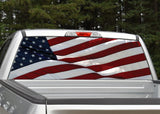 American Flag Waving #6 Rear Window Decal