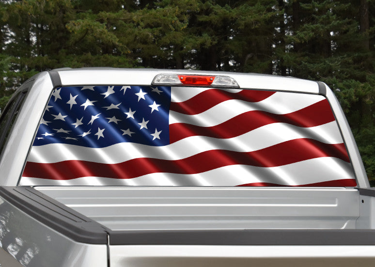 American Flag #7 Rear Window Decal