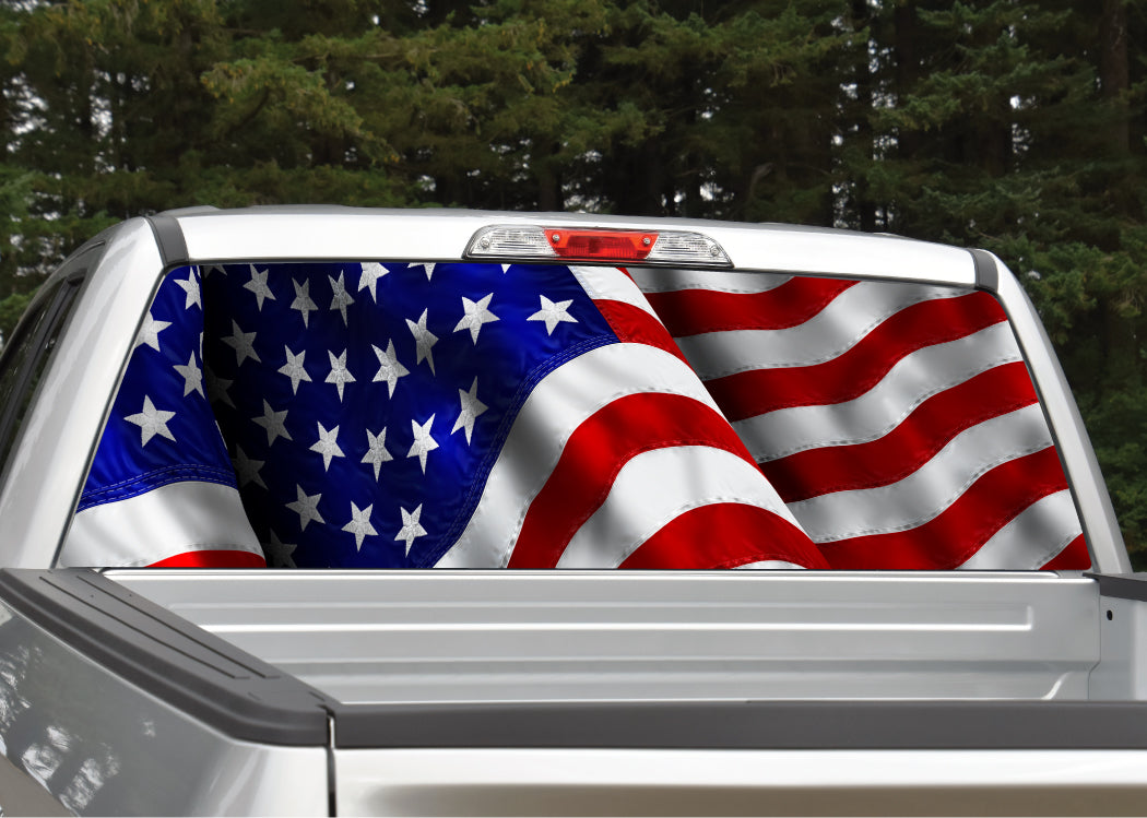 American flag 8 rear window decal