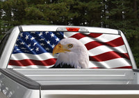 American Flag Bald Eagle Rear Window Decal