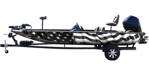 American Flag (black and white) Boat Wrap Kit