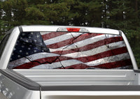 American Flag Cracked Rock Distressed Rear Window Decal