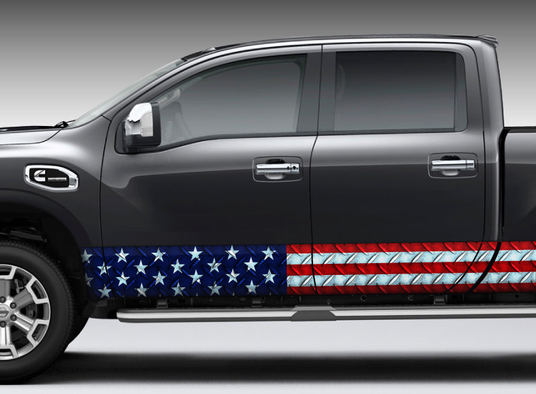American Flag Diamond Plate Rocker Panel Decal Kit