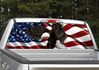 American Flag Flying Bald Eagle Rear Window Decal
