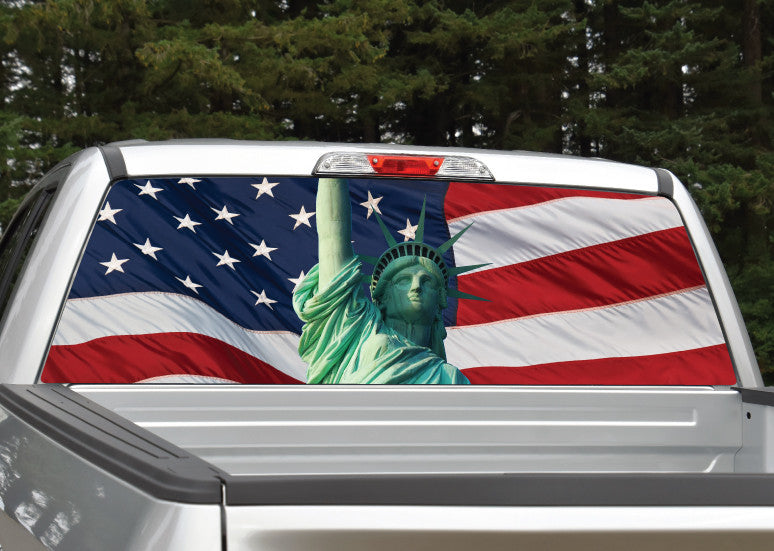 American Flag Statue of Liberty Rear Window Decal