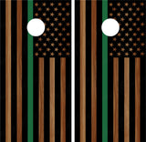 "American Flag ""Thin Green Line"" #4 (Black) Woodgrain"