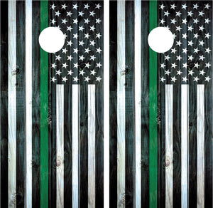 "American Flag ""Thin Green Line"" Distressed Wood"