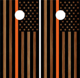 "American Flag ""Thin Orange Line"" #4 (Black) Woodgrain"