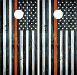 "American Flag ""Thin Orange Line"" EMS Distressed Wood"