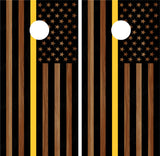 "American Flag ""Thin Yellow Line"" #4 (Black) Woodgrain"