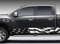 American Flag (black and white) Rocker Panel Decal Kit