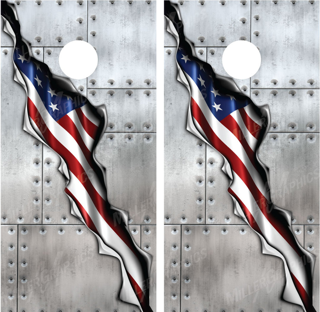 American Flag Ripped Metal Riveted Metal Cornhole Wraps