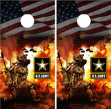 Army Solider Battle American Flag