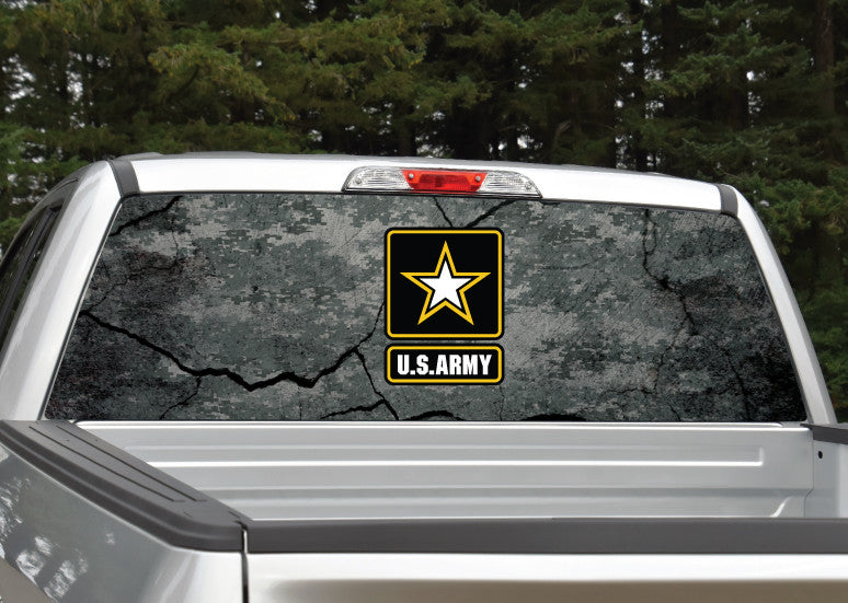 Army Cracked Rock Digital Camo Rear Window Decal