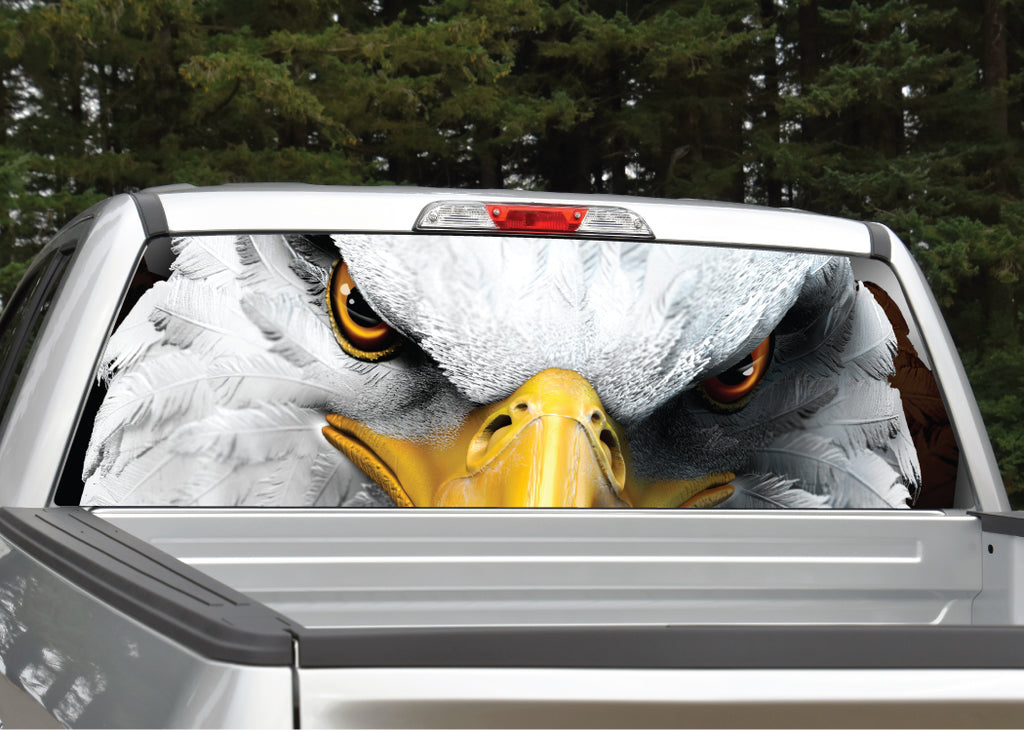 Bald Eagle Eyes Patriotic Rear Window Decal