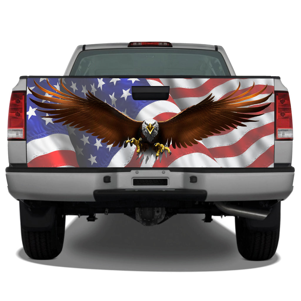 Bald Eagle #2 Flying Spread American Flag Tailgate Wrap