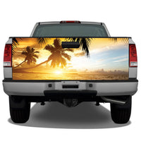 Beach Ocean Sunset Palm Trees Tailgate Wrap