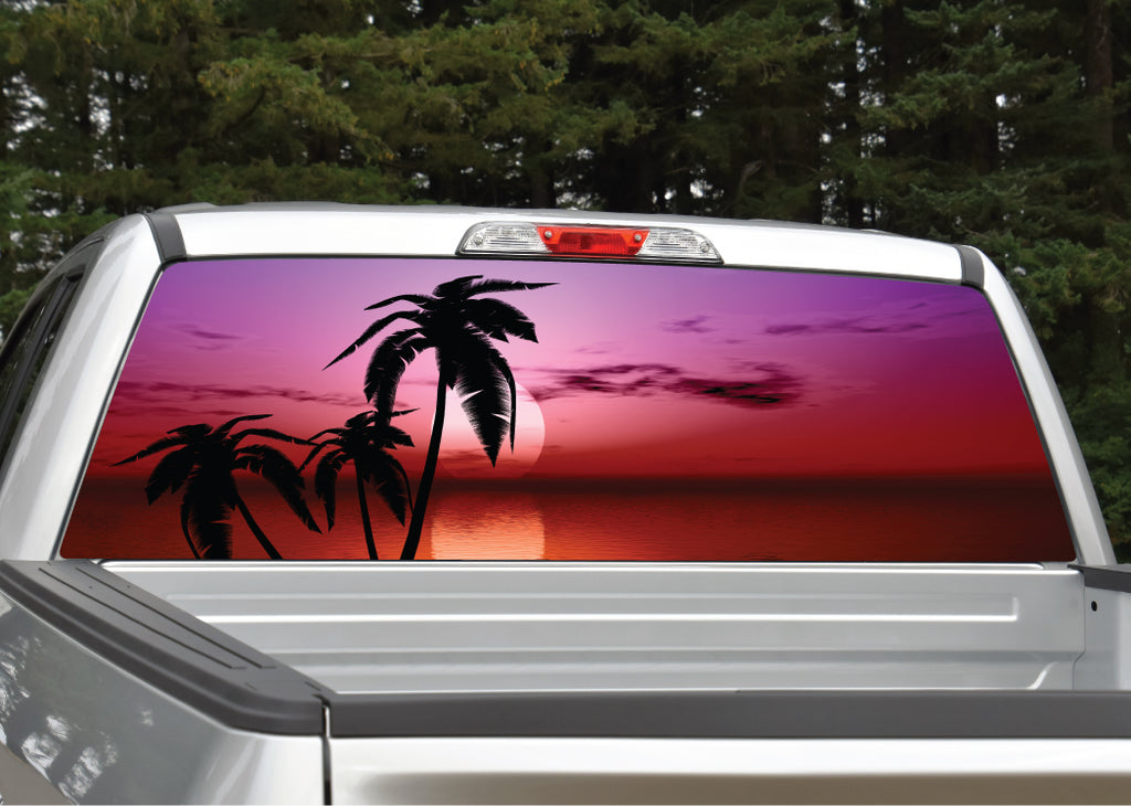 Beach Palm Trees #11 Tropical Sunset Rear Window Decal