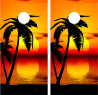 Beach Palm Trees #9 Tropical Sunset (Orange)