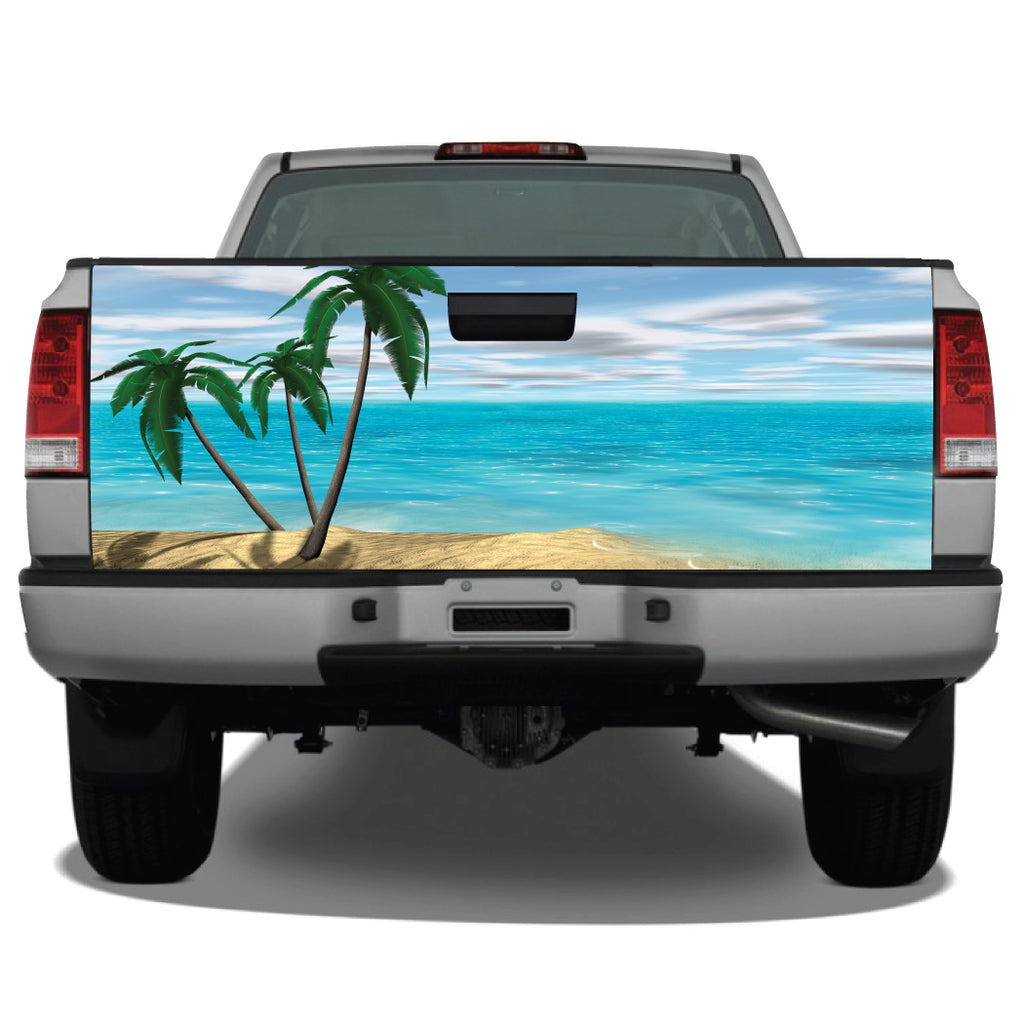 Beach Scene Palm Trees Tailgate Wrap