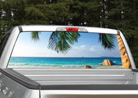 Beach Scene #2 Palm Trees Rear Window Decal