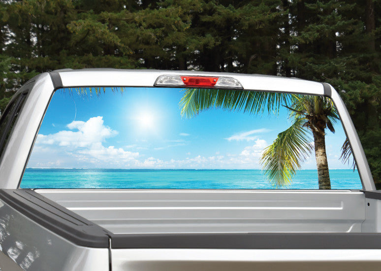 Beach Scene #3 Palm Trees Rear Window Decal